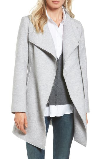 Halogen® Asymmetrical Zip Boiled Wool Blend Coat
