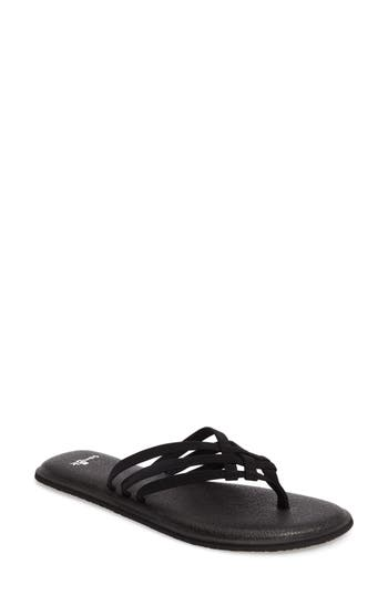 Sanuk Yoga Salty Flip Flop, Black