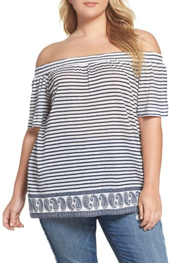 Plus Size Two By Vince Camuto Off The Shoulder Paisley Stripe Top, White