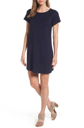 Bobeau Back Cutout Tunic Dress, Blue