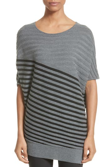 Women's St. John Collection Stripe Wool Asymmetrical Sweater, Size Petite - Grey