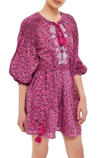 Topshop Floral Smock Dress, US (fits like 10-12) - Pink