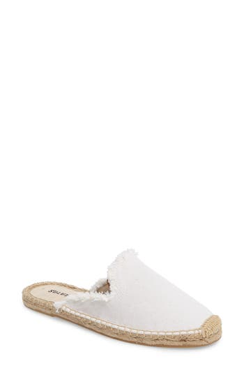 Soludos Frayed Loafer Mule, White
