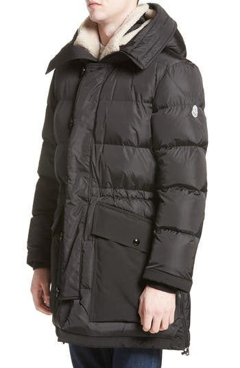 Moncler Loic High Neck Down Coat With Genuine Shearling Trim, Black