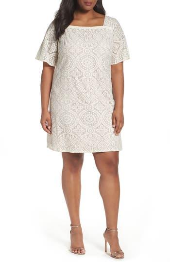Plus Size Adrianna Papell Metallic Lace Shift Dress