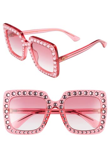 Gucci 53mm Crystal Embellished Square Sunglasses
