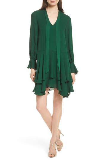 Alice + Olivia Moran Tiered A-Line Dress, Green