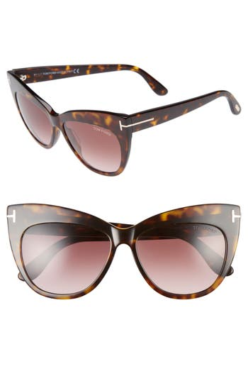 Tom Ford Nika 5m Gradient Cat Eye Sunglasses - Dark Havana/ Gradient Brown