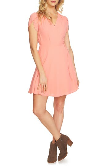 Women's 1.state Wrap Dress, Size X-Small - Coral