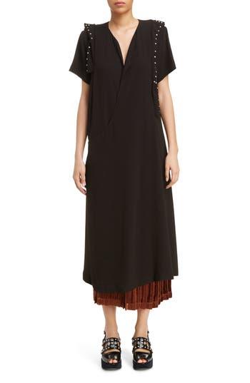 Women's Toga Georgette Faux Wrap Dress, Size 4 US / 36 FR - Black