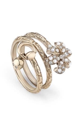 Women's Gucci Flora Diamond & Mother Of Pearl Wrap Ring