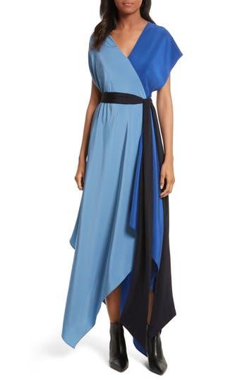 Diane Von Furstenberg Handkerchief Hem Silk Scarf Dress, Size Petite - Blue