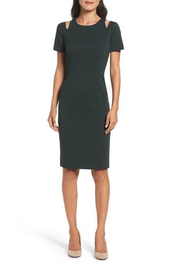 Eliza J Cold Shoulder Sheath Dress, Green