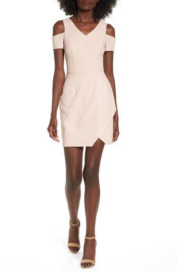 Speechless Cold Shoulder Sheath Dress, Pink