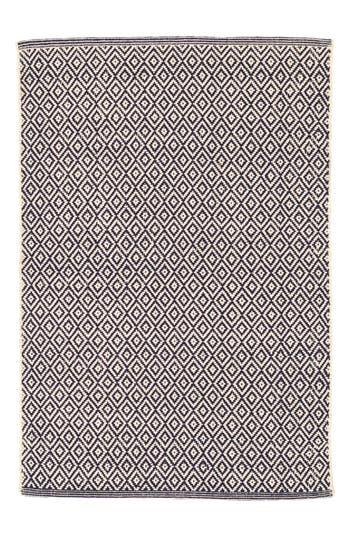 Dash & Albert Lattice Handwoven Cotton Rug, ft 0in x 3ft 0in - Blue