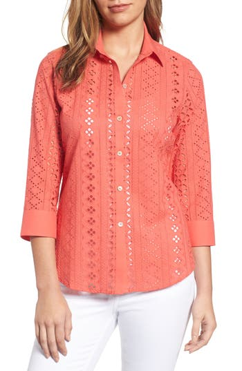 Foxcroft Ava Eyelet Shirt, Coral
