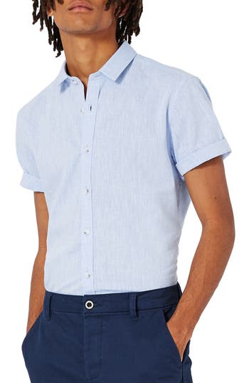 Men's Topman Slim Fit Slub Shirt