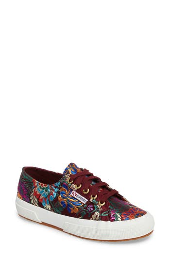 Superga 2750 Embroidered Sneaker - Burgundy