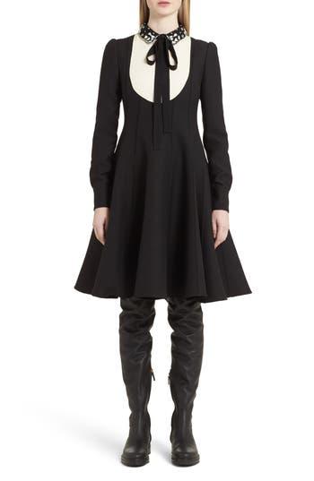 Valentino Bib Front Wool & Silk Dress, Black