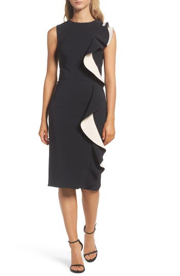 Women's Maria Bianca Nero Colorblock Ruffle Sheath Dress