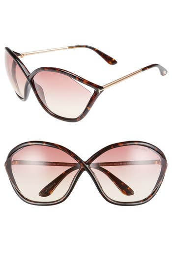 Tom Ford Bella 71Mm Gradient Lens Sunglasses - Dark Havana/ Violet