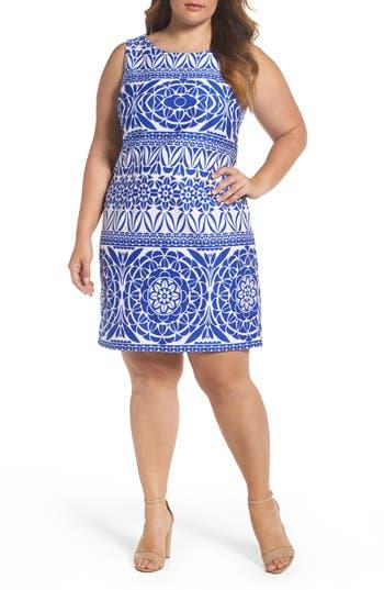 Plus Size Taylor Dresses Medallion Print Scuba Sheath Dress, Blue