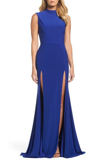 Ieena For MAC Duggal Jersey Double Slit Gown, Blue