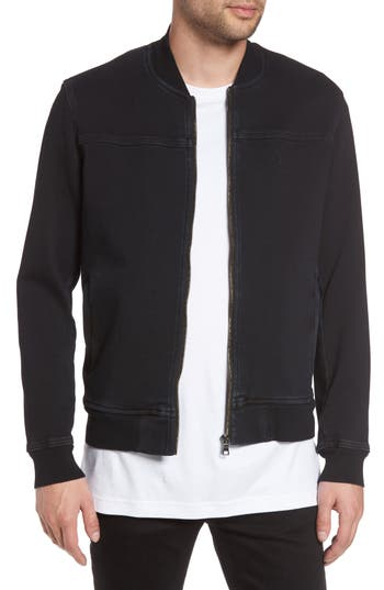 True Religion Brand Jeans Overdyed Bomber Jacket, Black