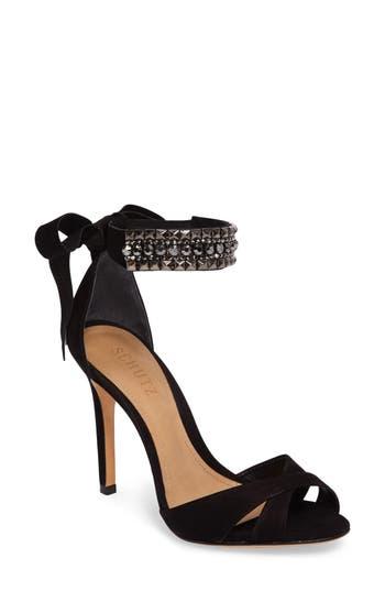 Schutz Larazee Embellished Sandal- Black