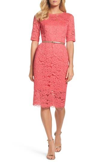 Ellen Tracy Belted Lace Sheath Dress, Pink