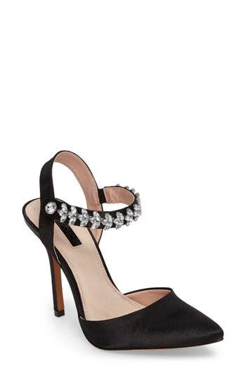 Topshop Embellished Ankle Strap Pump - Black