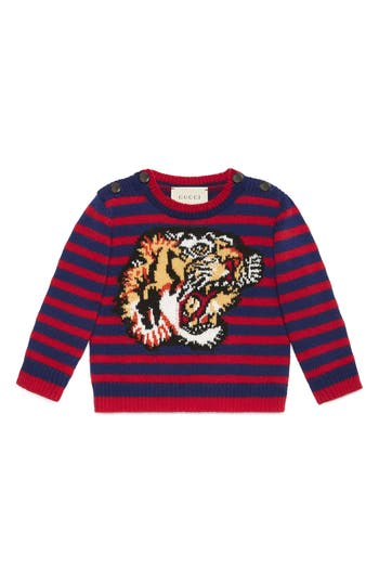 Infant Gucci Intarsia Tiger Wool Sweater, 8-2 - Burgundy