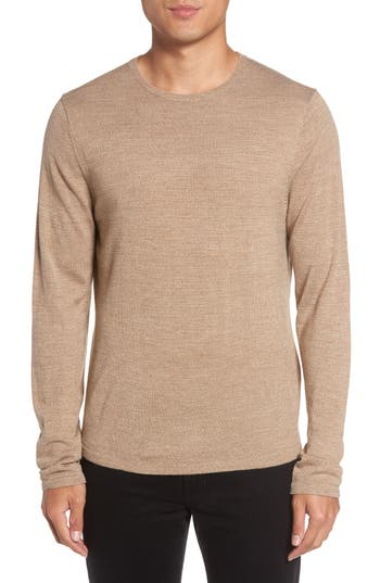 Calibrate Merino Blend Crewneck Sweater, Brown