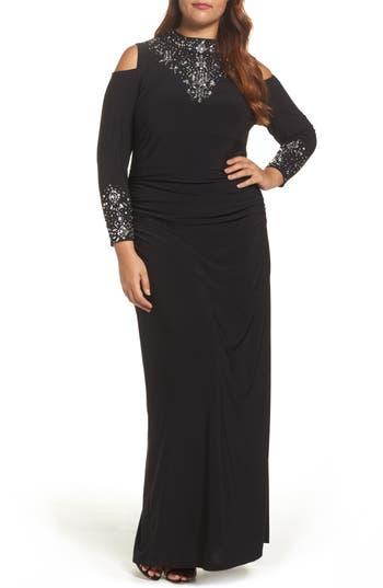 Plus Size Marina Embellished Jersey Cold Shoulder Gown, Black