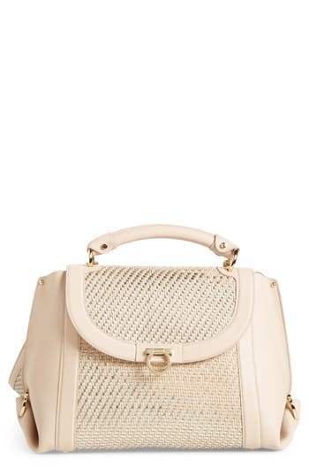 Salvatore Ferragamo Sofia Leather Satchel - Beige
