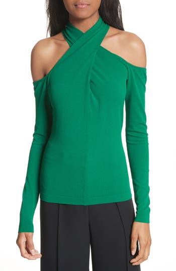Women's Milly Crisscross Keyhole Neck Top, Size Petite - Green