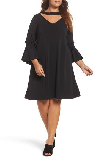 Plus Size Gabby Skye Bell Sleeve A-Line Choker Dress, Black