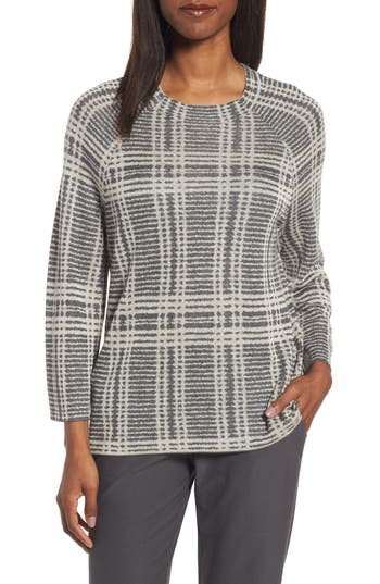 Eileen Fisher Plaid Tencel & Wool Boxy Sweater, Grey