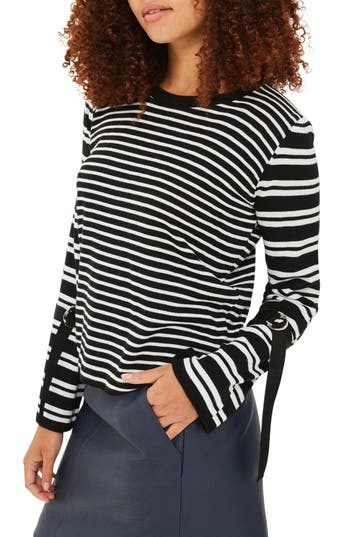 Women's Topshop Buckle Cuff Stripe Sweater, Size 2 US (fits like 0) - Ivory