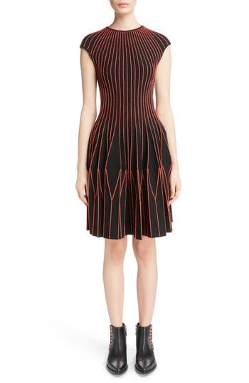 Alexander Mcqueen Metallic Wool Blend Pleat Dress, Black