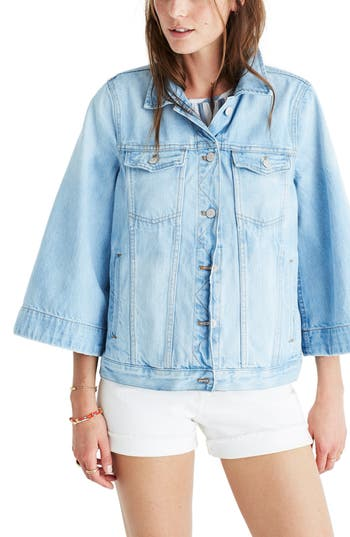 Women's Madewell Bell Sleeve Denim Jacket, Size Large - Blue
