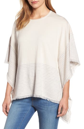 Women's Vineyard Vines Stripe Poncho Sweater, Size X-Small/Small - Grey