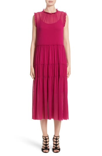 Fuzzi Tiered Tulle Dress, Pink