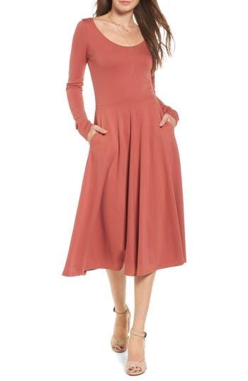 Leith Long Sleeve Midi Dress, Metallic