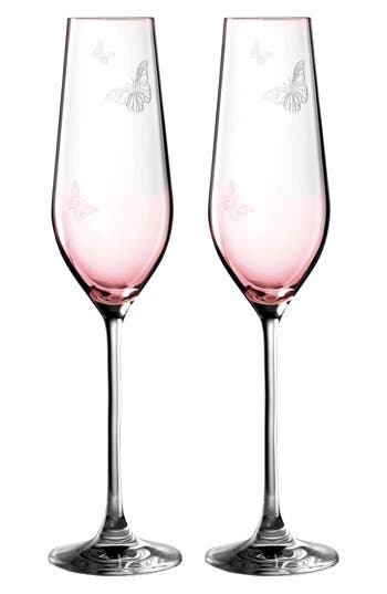 Miranda Kerr For Royal Albert Friendship Set Of 2 Champagne Flutes, Size One Size - Pink