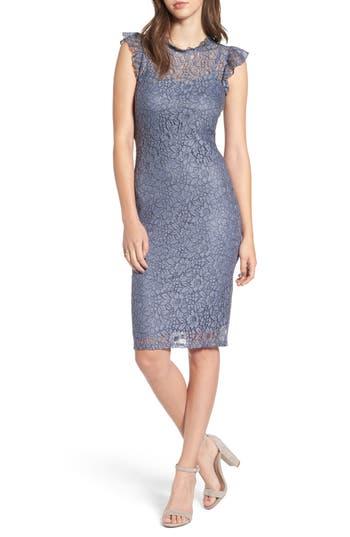 Love, Fire Lace Sheath Dress, Blue