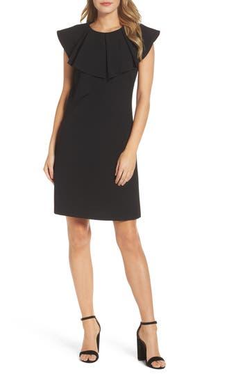 Women's Eliza J Ruffle Shift Dress, Size 2 - Black