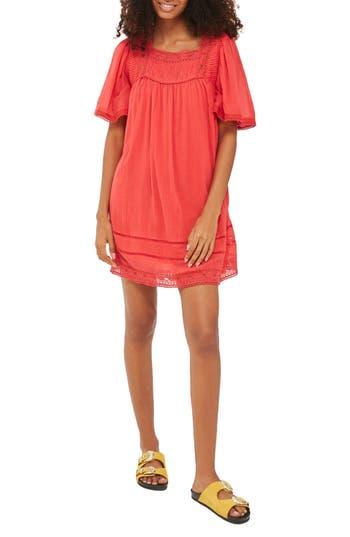 Women's Topshop Lace Trim Trapeze Dress