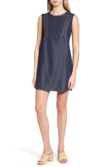 Women's True Religion Brand Jeans Lace-Up Dress, Size Small - Blue
