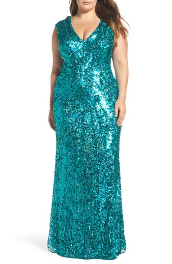 Plus Size MAC Duggal Sequin Plunging V-Neck Gown, Green